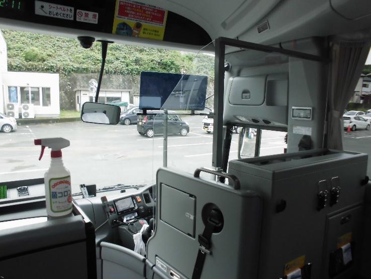 運転席飛沫防止アクリルボードの設置